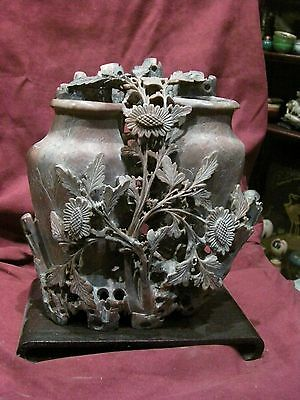 BEAUTIFUL ANTIQUE CHINESE CARVED SOAPSTONE 2 POT FLOWER VINE SCENE BEAUTY Brush