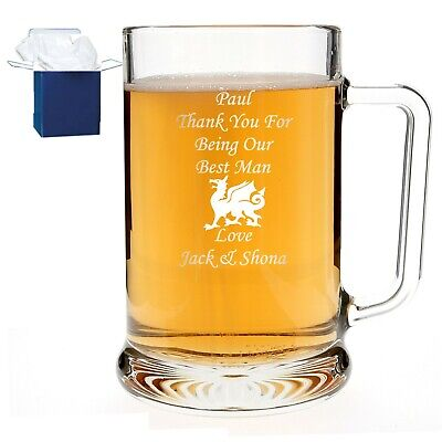 Personalised 1 Pint Dimple Glass Tankard Engraved Wedding Usher Gift Present