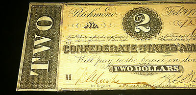 Richmond, VA $2 Two Dollar Confederate States of America Note!!