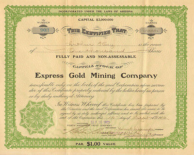 Express Gold Mining Company > 1902 Arizona mine share stock certificate
