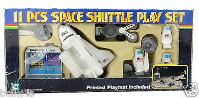 1984 Vintage 11-Piece NASA SPACE SHUTTLE PLAY SET (1984) + Printed Playmat