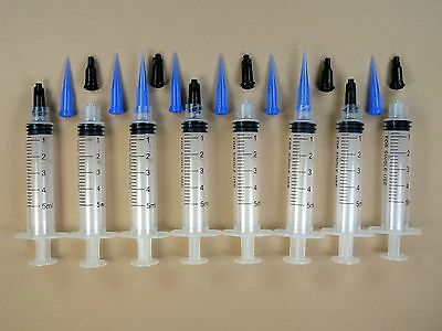 8 Syringes 5ml 5cc w Dispensing Tips & Caps Adhesives Glue Craft Hobby BLL22g