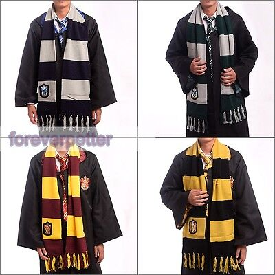 NEW Harry Potter Gryffindor Slytherin Ravenclaw Hufflepuff Knit Scarf Cosplay