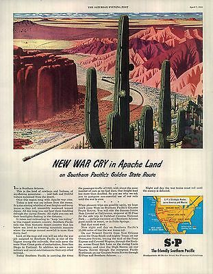 1945 Southern Pacific Ad New war cry in Apache land Golden State Rte Cactus 4501