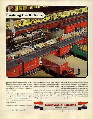 1943 Pennsylvania Railroad Ad Rushing the rations Supply Center Truck Fruit 4307