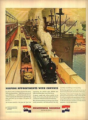 1943 Pennsylvania Railroad Ad Keeping appointments with convoys Ship Tug 4308