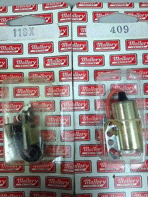 Mallory 118X, 409 Replacement HD Points & Condenser 1959-73 V8 I6 MOPAR