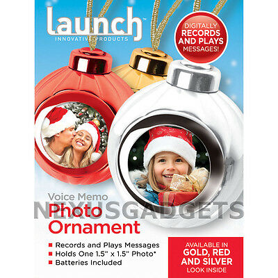 RED Christmas Ornament Voice Recording Talking Playback Photo Xmas Balls Record