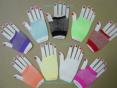 FISHNET GLOVES Fingerless Wrist Length 70s 80s Women's Costume Party Dance New