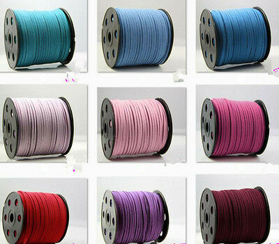5/100 Yards 3mm Korea Faux Suede Cord Flat Leather Cord Bracelet Neckla Rope