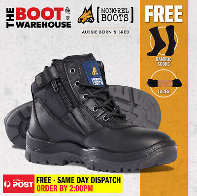 Mongrel 261020 Work Boots. Steel Toe Safety. Black, Zip-Sider. PRESS STUD CLIP!