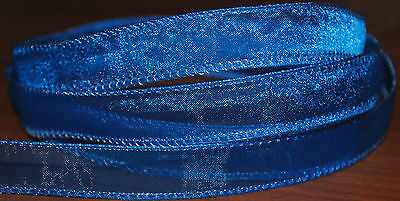 """Wired Ribbon~Blue Sheer~Christmas~Wreath~Holiday~Bridal~Gift~5/8"""" Width~Bow"""