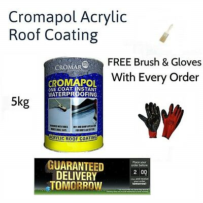 Cromapol Acrylic Waterproofing Roof Coating 5kg + Free Brush And Gloves