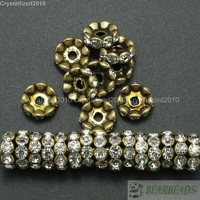 100 Czech Crystal Rhinestone Bronze Wavy Rondelle Spacer Beads 4mm 6mm 8mm 10mm