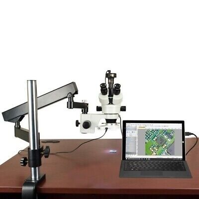 OMAX 7X-45X Articulating Arm Stereo Zoom Microscope+54-LED Ring Light+2MP Camera