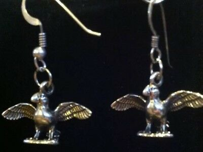 Sterling Silver Parrot Earrings 3-D Adorable .925 Stamped Makers Mark Charm6g