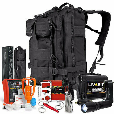 LIVABIT SOS Bug Out 3 Day Backpack First Aid Kit Emergency Survival Gear Black