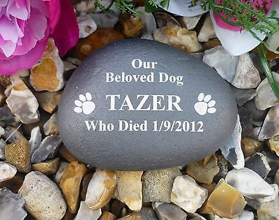 Pet Memorial - Small Pebble (Stone Effect) Personalised - Weatherproof - Paws