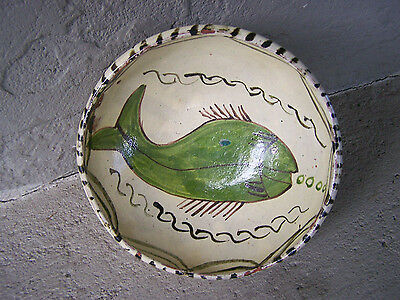 Tzintzuntzan Vintage 1940s Pedestal Bowl - Swimming Fish #2 - Mexico