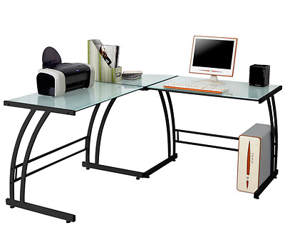 Shaped Glass Top Corner Computer Desk Studio Table Metal Home Office