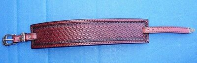 """Western Jewelry Hand Tooled Top Grain Leather 1 1/2"""" Wide Bracelet Made In USA"""