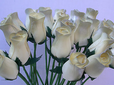 Wedding Flowers Favours Gift Job Lot Cream Silver Tips Artificial Wooden Roses