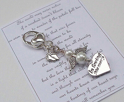 Baby Memorial Charm Miscarriage Stillborn Baby Loss ~ ANGEL LARGE CLIP BAG CHARM