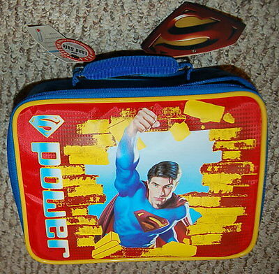 INSULATED Thermos SUPERMAN Lunch Box with Water Bottle 9.5x7.5x3
