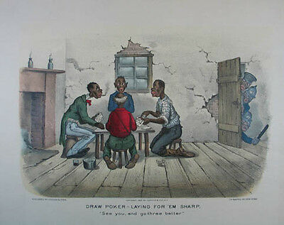 Currier & Ives: Draw Poker altkolorierte Lithographie 1886