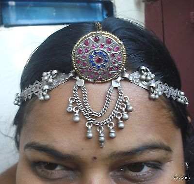 vintage antique old silver hair jewelry tika head ornament tribal bellydance