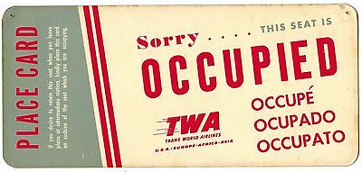 USA TWA Airlines Sorry thei seat is Occupied