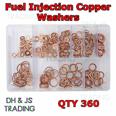 Assorted Box of Fuel Injection Washers Qty 360 (Copper 6 - 17mm) DIN 7603A