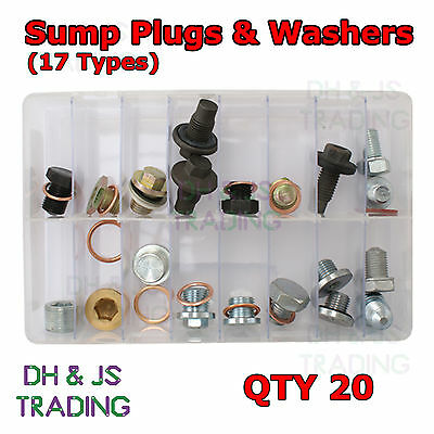 Assorted Box of Sump Plugs + Washers (17 types. Most popular) Plug Qty 20