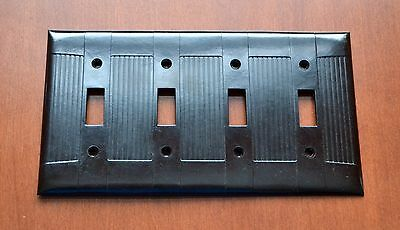 Bakelite EAGLE Brown RIBBED FOUR 4 Switches Outlet Plate Cover (More avail)