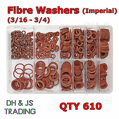 Assorted Box of Fibre Washers Imperial 3/16 5/16 1/4 3/8 5/8 3/4 8 Sizes Qty 610