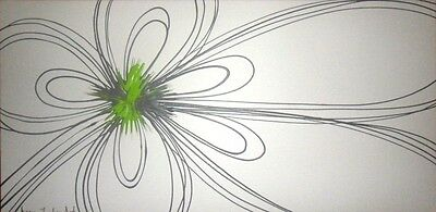 ORIGINAL MODERN ABSTRACT CANVAS PAINTING LIME CREAM BROWN FLOWER DEE'S FUNKY ART