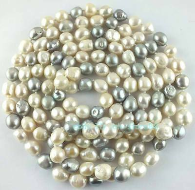 10-12mm Natural White and Grey Freshwater Oval Freeform Pearl Loose Beads 64''