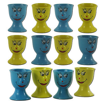 4er 8er 12er Eierbecher SET Gelb Blau Keramik Eier Ei Becher Smiley Gesicht