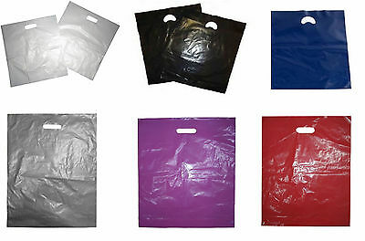 "Strong PLASTIC CARRIER BAGS Patch Handle 15""x18""x3"" All Colours Fashion GIFT"