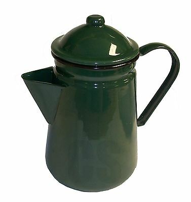 Falcon Green Enamel Tall Coffee Pot With Handle & Lid Tea Teapot - Camping