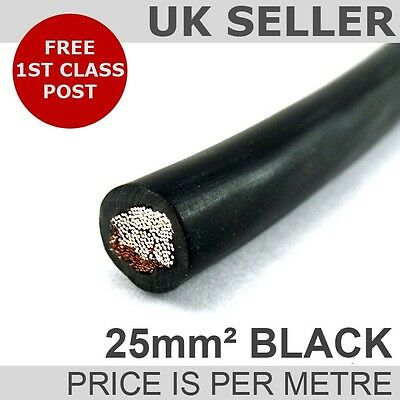 PVC Hi-Flex COPPER BATTERY STARTER / EARTH / WELDING CABLE 25mm² (black) 170 AMP