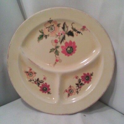 Vtg Roma yellow pottery restaurant ware child's divided plate dish flowers