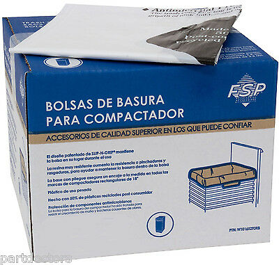 NEW 60 Pack Whirlpool 18 Inch Plastic Trash Compactor Bags W10165293RB 4318938