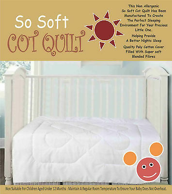 Baby Anti Allergy Cot Bed Duvet & Pillow 120 X 150 Cm 4.5/ 9.0 Tog