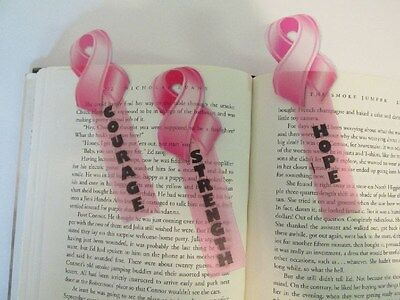 48 PINK RIBBON BOOKMARKS party supplies favors FREE S/H Breast Cancer Awareness