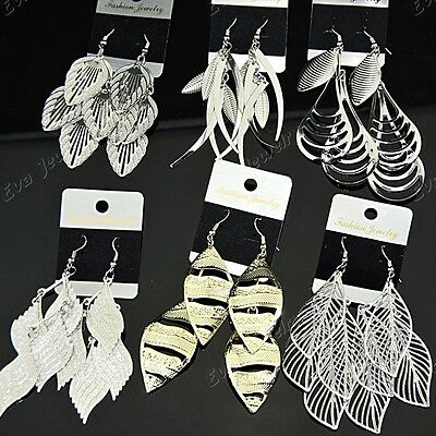 Mix Style 6Pairs Silver Gold P Women Leaves Drop Earrings Wholesale Jewelry Lots