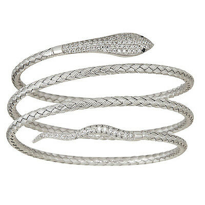 Sterling Silver, Fancy Italian Snake Bangles with Cubic Zirconia Stones.