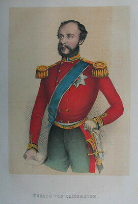 Adolph Friedrich, 1. Duke of Cambridge (1774-1850) altkol. Tonlithographie 1855