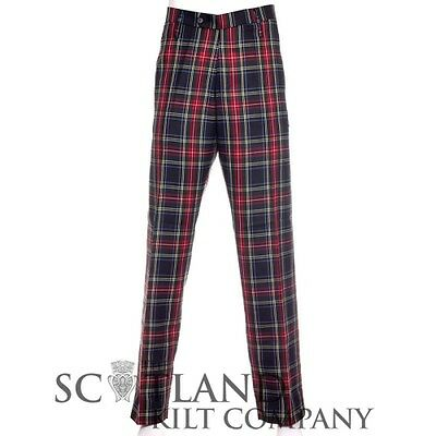 New Gents Black Stewart Tartan Polyviscose Scottish Formal Trews Trousers
