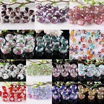 Faceted Crystal Glass Rhinestone Flower Floral Loose Spacer Bead Findings Crafts